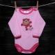 Body SCAMP - Opička / ružové pásiky
