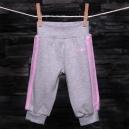 Detské tepláky - SCAMP / sivé, ružové pásiky