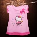Šaty s krátkym rukávom - Hello Kitty s kvetinkou / svetloružová