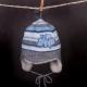Čiapka - BAND pletená sivo-modrá so šiltom