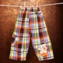 Detské kockované / zateplené nohavice Macko