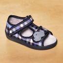 Detské kockované otvorené topánočky RenBut / Autíčko