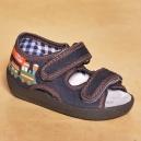 Detské kvalitné otvorené topánočky / papučky - Vláčik